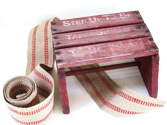 vintage red rustic wood stool handmade - step up to be tall - sit down to be small