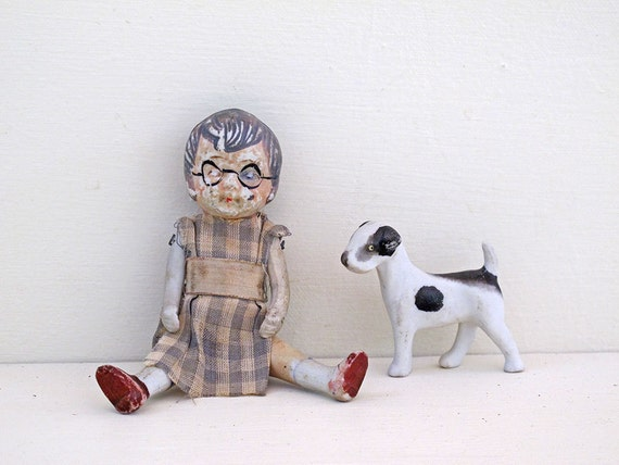 little 1940s antique doll jointed hand painted bisque collectable retro toy