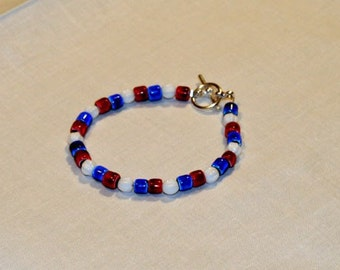 Bracelet, red, white, and blue glass beads