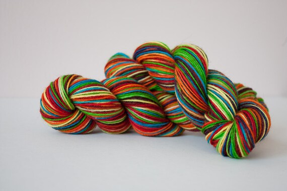 Hand Painted Sock Yarn - Rainbow Bright