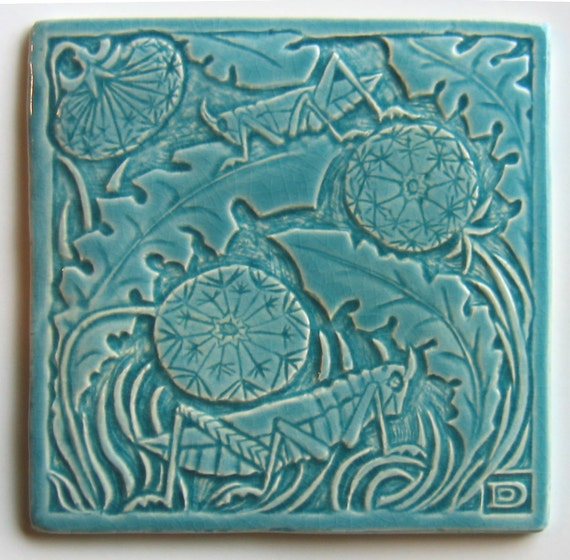 Flora Fauna Grasshopper 6x6 tile in glaze colors:  Iceland Sea, Cobalt, Evergreen Fir, Peacock, and Turquoise