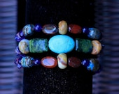 Three Strand Turquoise, Jasper, Agate, Amethyst and Serpentine Bracelet with Adjustable Sterling Silver Clasp