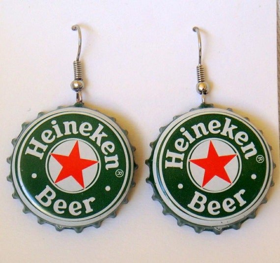 Heineken recycled beer bottle cap earrings buy 4 and get the - Can you recycle bottle caps ...