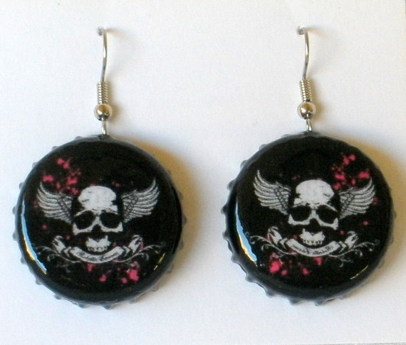 SALE Skull with Wings and Banner Upcycled Bottle Cap Earrings