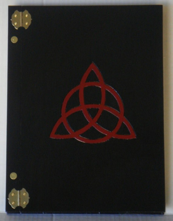 SALE Handcrafted Wooden Book of Shadows Charmed Triquetra