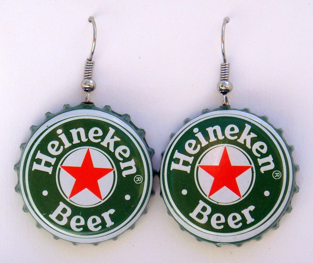 Heineken recycled beer bottle cap dangle earrings buy 4 and - Beer bottle caps recyclable ...