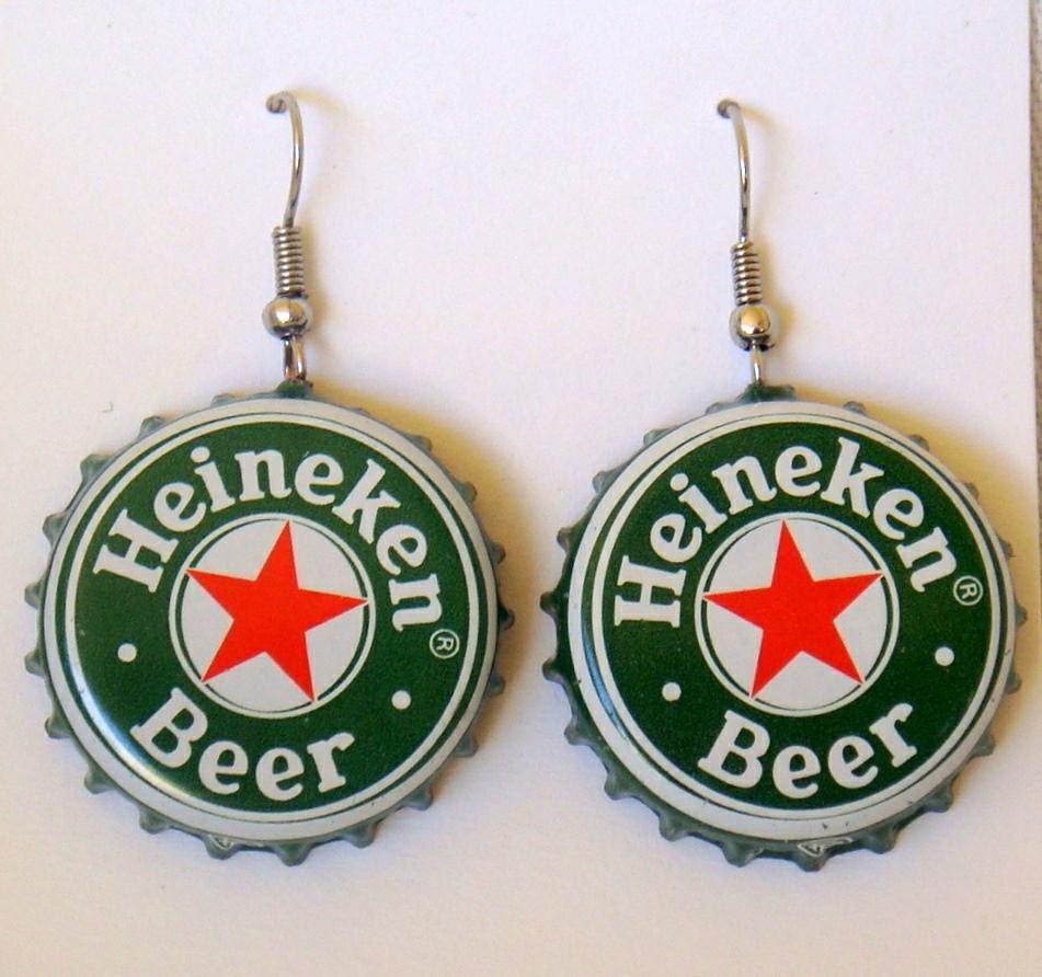 Heineken recycled beer bottle cap earrings buy 4 and get the - Beer bottle caps recyclable ...