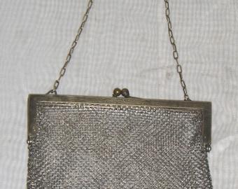 Antique German Silver Purse Clutch Hallmarked Metal Mesh Handbag Bag