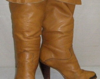 Vintage Womens Zodiac BOHO Pirate Cuff Leather Tall Boots Size 6 1/2M