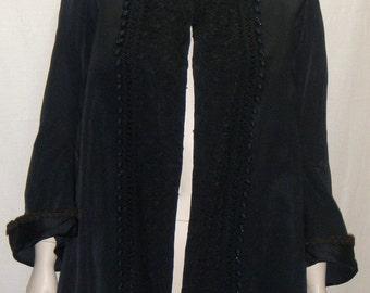 Vintage Antique Edwardian Victorian Jacket Coat Black Satin Lace Baubles Small Medium