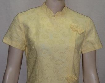 Vintage 1960's Mandarin Asian Oriental Wiggle Dress Yellow Small
