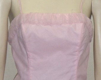 Vintage 1950's Prom Party Formal Pink Dress Small Full Circle Tall Long