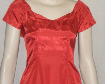Vintage 1960's Formal Gown Dress Vixen Red Small XS