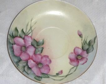 Vintage HP Handpainted Primrose Floral Plate Saucer