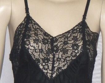 Vintage Vendome Full Slip Black Silky Nylon Size 32