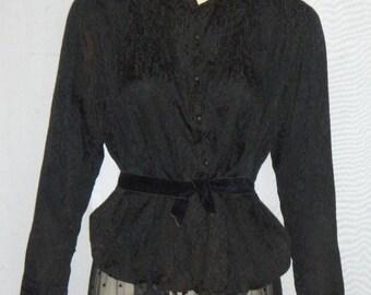 Vintage Edwardian Victorian Era Lace Mourning Skirt Silk Blouse Small Steampunk
