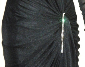 Vintage 1970's Revival 1940's Black Formal Dress Rhinestones Ruched Illusion STUNNING  7/8