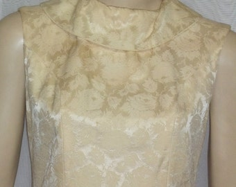 Vintage 1950's 1960's Silk Jaquard Golden Cocktail Wiggle Dress Small