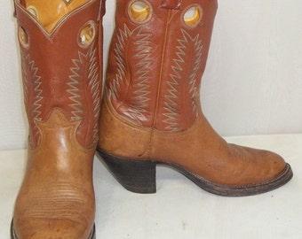 Vintage Buckaroo Short Leather Tony Lama Cowboy Boots Girls Womens 7 1/2 BOHO