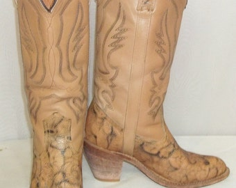 Vintage Miss Capezio BOHO Tall Leather Cowboy Boots Womens 8 M