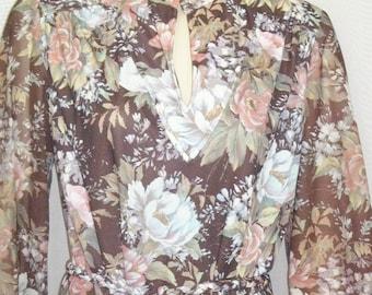 Vintage 1970's Floral BOHO Dress Medium Large