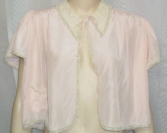 Vintage Satin Crepe Trousseaux by Terris Bed Jacket Pink Peach Medium