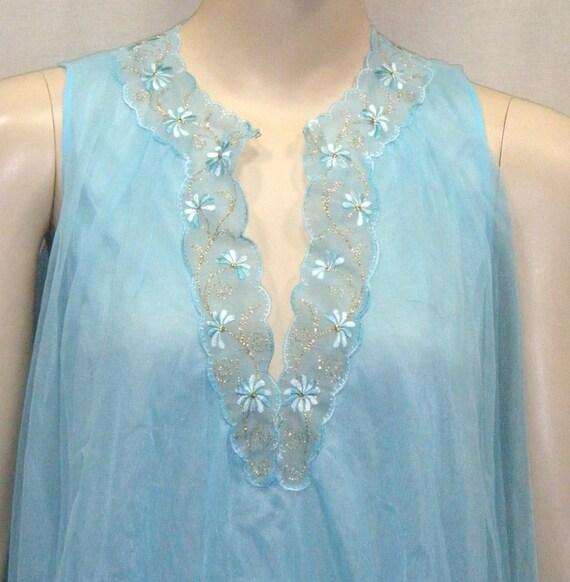 Vintage Van Raalte Babydoll Baby Doll Nightie Nightgown Petite Blue Gold Sparkle Thread Embroidered BOHO
