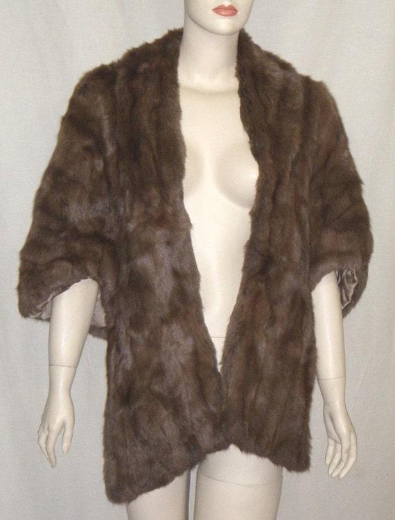 Vintage Gold & Shalet Kansas City 1940's Squirrel Fur Stole Shrug Capelet