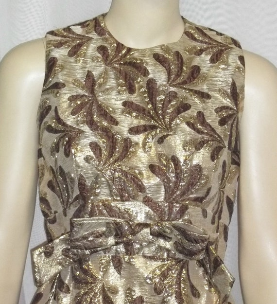 Vintage 1970's Ken Originals Maxi Dress Mod Retro 10 Gold