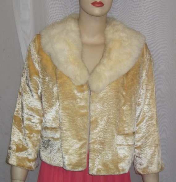 Vintage Rabbit Fur Collar Jacket BOHO Small