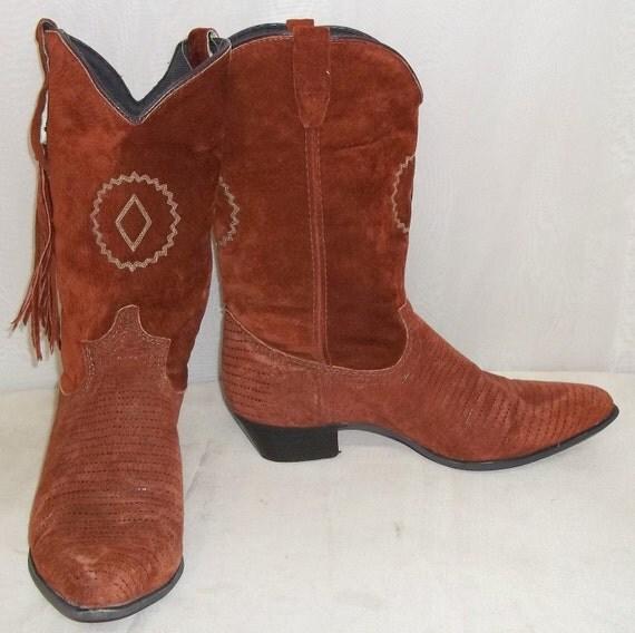 Vintage Women S Rodeo Drive Cowboy Western Boots 9m Suede