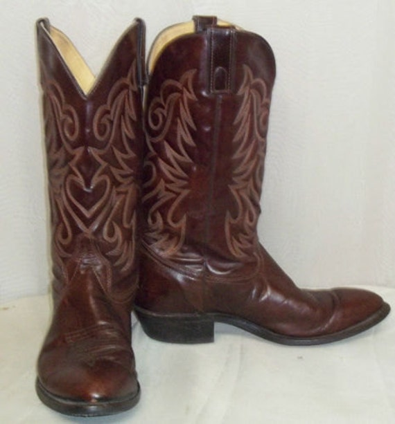 Vintage Texas Cowboy Western Boots Leather Mens 11 EE Brown