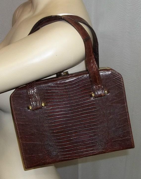 Vintage Lizard Skin Kelly Purse Brown Handbag Clutch