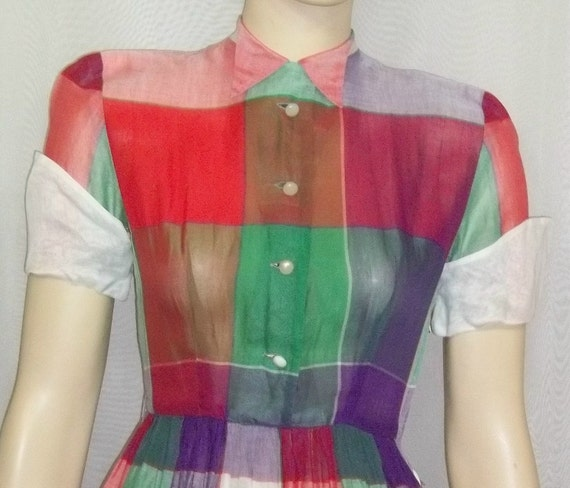 Vintage 1950s 1960s Jackie Nimble Sheer Cotton Plaid Career Day Dress Small