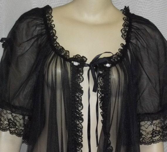 Vintage Nylon Chiffon Black Peignoir Robe Floral Appliques Small