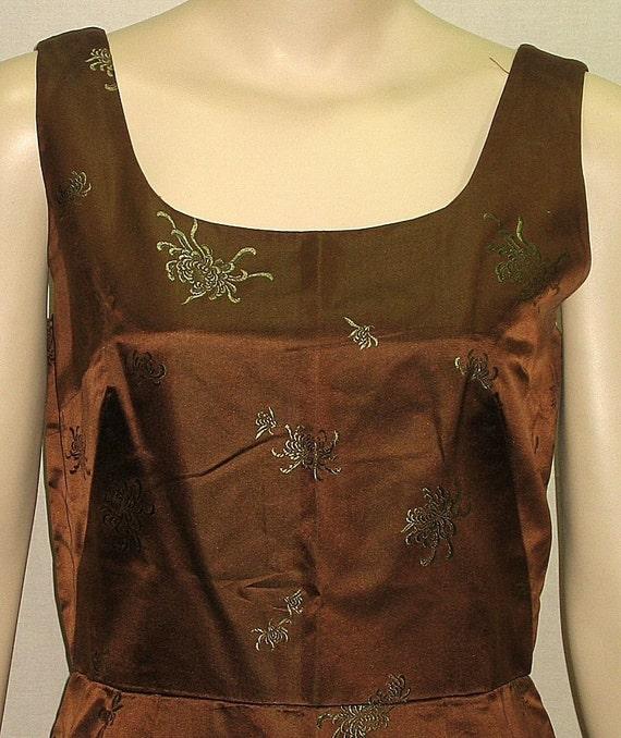 Vintage 1950's Hong Kong Wiggle Dress Sin Chon Silk Brocade Floral Medium Asian Oriental