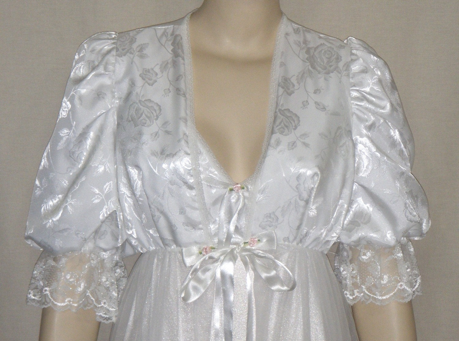 Vintage Tosca Peignoir Nightgown Robe Set Small Wedding White