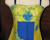 Blue Flower Patchwork Applique Apron Top - ON SALE
