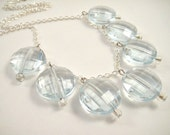 Chunky Bead Necklace, Modern Aquamarine Necklace