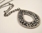 Long Pendant Necklace, Teardrop Pendant, Large Pendant Charm, Antique Silver and Black, Gunmetal