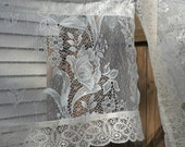 2 vintage valances, lace valances, white and tan