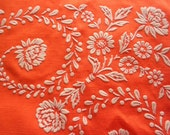 "Reserved for Joshua - vintage flocked tablecloth, never used before, bright orange, 52"" x 52"""