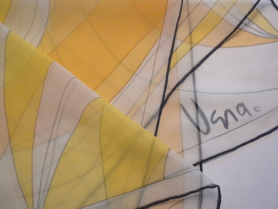 vintage vera scarf, sheer, handrolled in Japan, part silk, yellow and pale orange