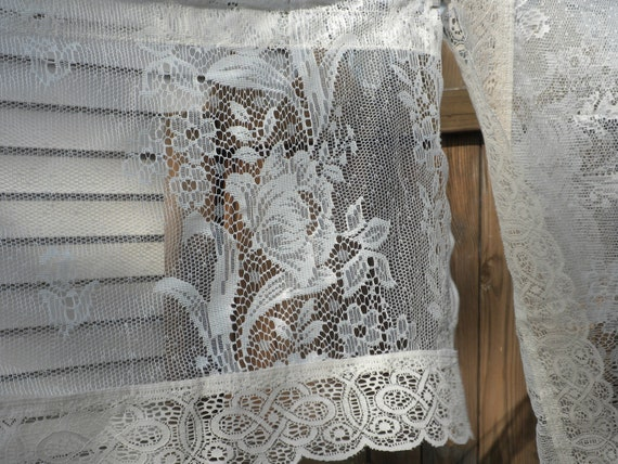 2 vintage valances, lace valances, white and tan