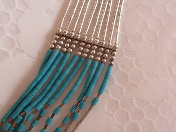liquid silver, sterling silver and turquoise, 10 strand necklace and earrings