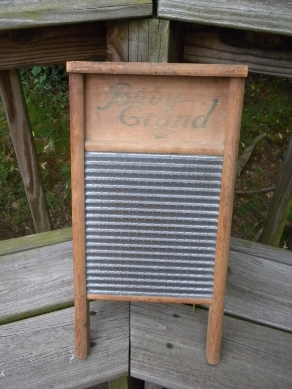 vintage washboard, 1938 monarch globe baby grand, wood and metal