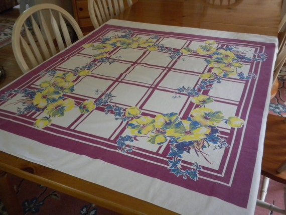 colorful vintage tablecloth, 48 x 46 inches, cotton, great design