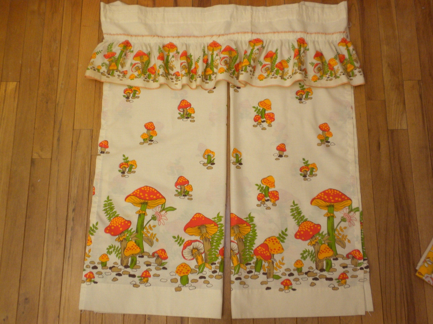 Kitchen Curtains With Mushroom Design With Valance From The