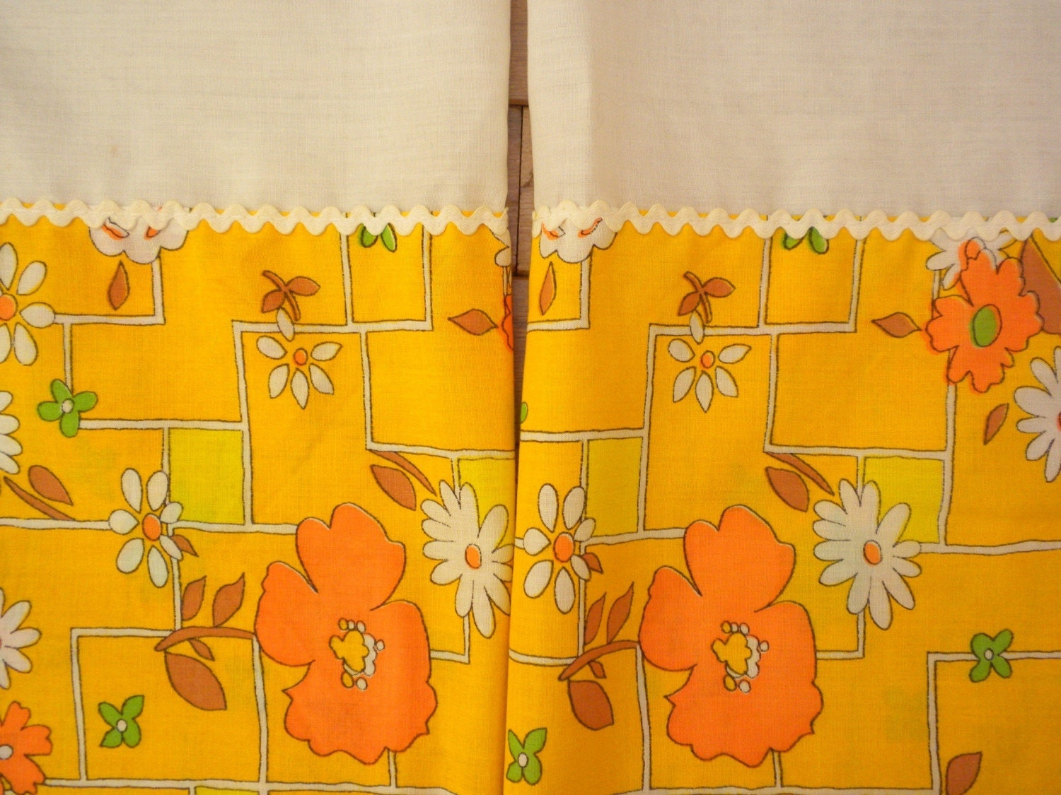 vintage kitchen curtains sunny yellow and orange by brixiana