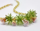 Summer Necklace, Green Dagger Beaded Beads and Shell Beads, Beach Days